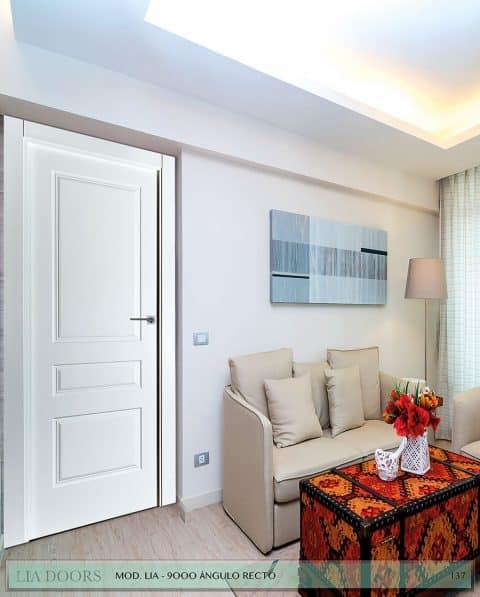 Puerta lacada Diseño Grupo D en block Ciega BL Modelo 9000 Angulo Recto