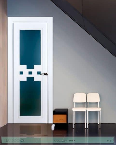 Puerta lacada en block Vidriera Parrilla 1V BL Modelo 4 SP