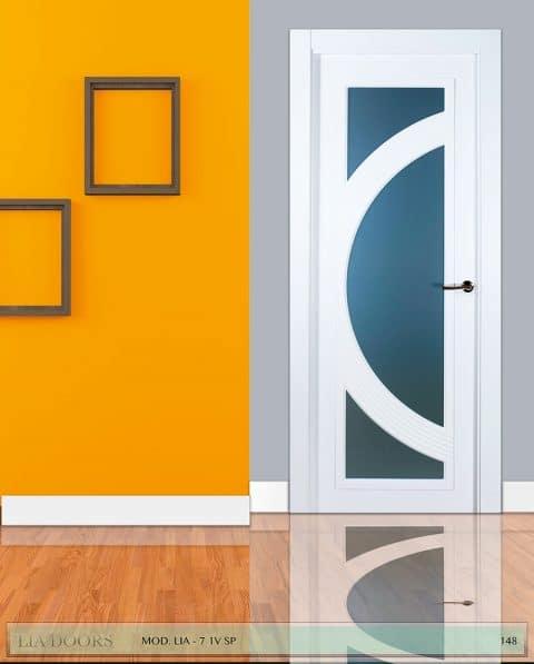 Puerta lacada diseño Grupo B en block Vidriera Parrilla 1V BL Modelo 7 SP