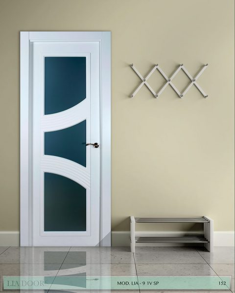 Puerta lacada diseño Grupo B en block Vidriera Parrilla 1V BL Modelo 9 SP