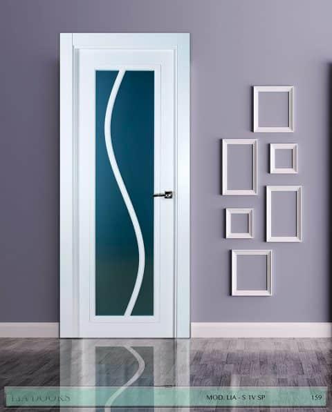 Puerta lacada diseño Grupo B en block Vidriera Parrilla 1V BL Modelo S SP
