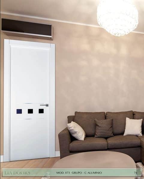 Puerta lacada Diseño Grupo B en block Ciega BL Modelo 873 Aluminio