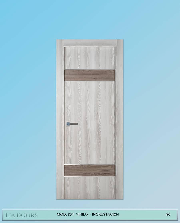Puerta de Vinilo en block Ciega BL Modelo 831 (Incrustación de Aluminio)