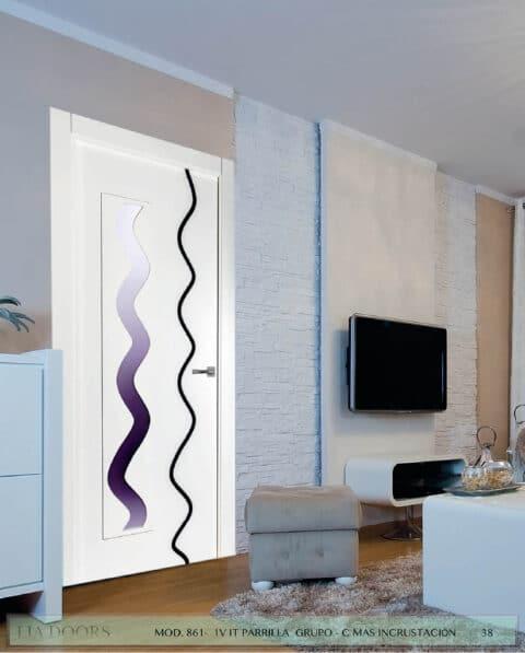 Puerta lacada Diseño Grupo C en block Vidriera Parrilla 1V BL Modelo 861 IT (Incrustación alto brillo)