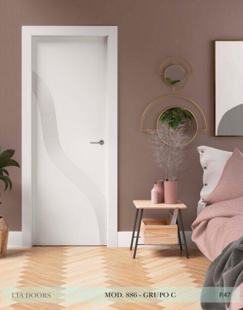 Puerta lacada Diseño Grupo C en block Ciega BL Modelo 886